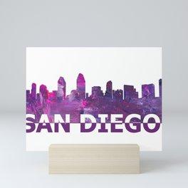 San Diego California Carolina Skyline Silhouette Strong with Text Mini Art Print
