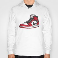 chicago bulls Hoodies featuring Jordan 1 OG (Chicago) by Pancho the Macho