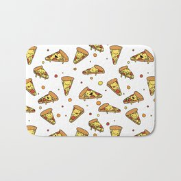 Cute Smiling Happy Pizza Pattern on white background Bath Mat