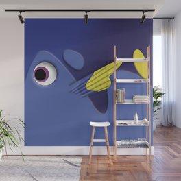 Blue ornamental fish cartoons Wall Mural