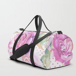 Watercolor hand painted pink lavender roses polka dots Duffle Bag
