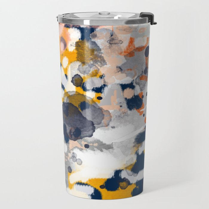 Stella - Abstract painting in modern fresh colors navy, orange, pink, cream, white, and gold Travel Mug