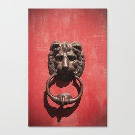 Red Door with Lion head  Canvas Print