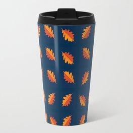 Fall Night - Leaf pattern on navy background Travel Mug