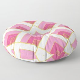 Pink and Gold Diamond Art Deco Pattern Floor Pillow
