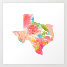 Texas Floral map state map print Art Print
