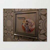 sticker Canvas Prints featuring bathroom sticker by nilon