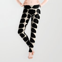 Mod Leaves Mid Century Modern Abstract Pattern in Black and Almond Cream Leggings