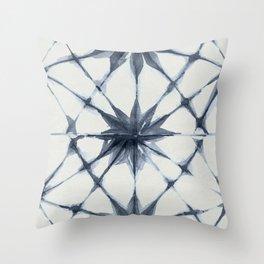 Shibori Starburst Indigo Blue on Lunar Gray Throw Pillow
