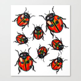 Hyper Spotted Lady Birds Canvas Print