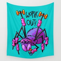 workout Wall Tapestries featuring Workout Spider by Artistic Dyslexia