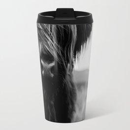 Scottish Highland Cattle Baby - Black and White Animal Photography Travel Mug
