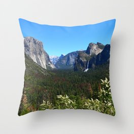 Bridal Veil Falls From Tunnel View Point - Yosemite Valley Throw Pillow