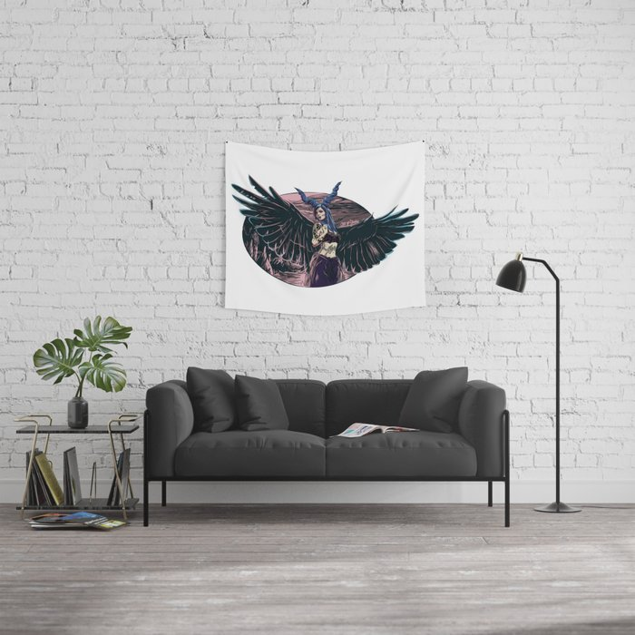 Riae Suicide Vector Illustration Wall Tapestry