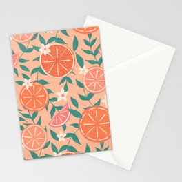 Floral Citrus in Pink Stationery Cards