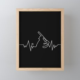 Baseball Heartbeat graphic Cool Gift for Sport Lovers Framed Mini Art Print