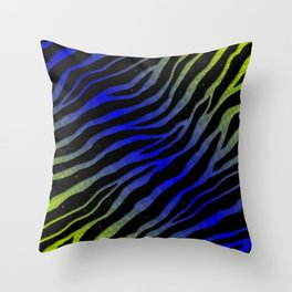 Ripped SpaceTime Stripes - Lime/Blue Throw Pillow