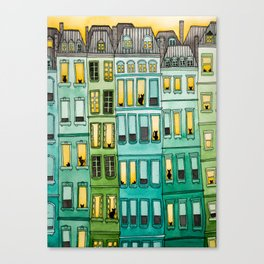 The Green Townhouses Canvas Print
