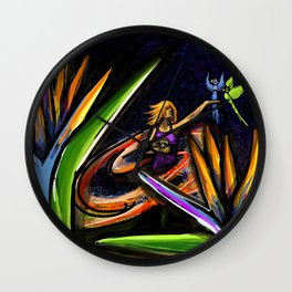 Hula Hooper on Fire Wall Clock