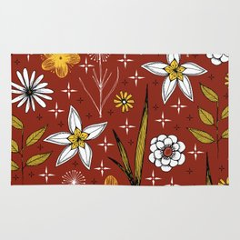 retro floral print on red Rug
