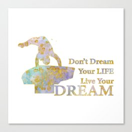 Live Your Dream Gymnastics Design in Watercolor and Gold Canvas Print