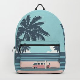 Surfer Graphic Beach Palm-Tree Camper-Van Art Backpack