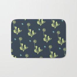 Spider Daisies (green + navy) Bath Mat