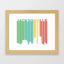 Retro 1970's Style Jacksonville Florida Skyline Framed Art Print