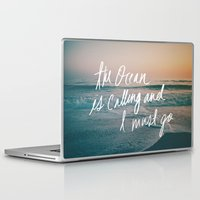 leah flores Laptop & iPad Skins featuring The Ocean is Calling by Laura Ruth and Leah Flores  by Laura Ruth