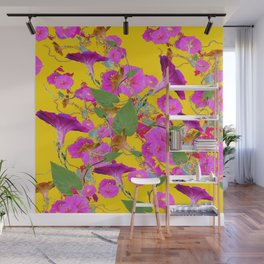 Pink Morning Glories on Golden Yellow Art Design Wall Mural