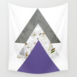 Ultra Violet Blossoms Arrows Wall Tapestry