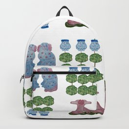 Topiary Topiaries Pink Staffordshire Dogs Backpack