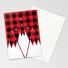 Red Buffalo Plaid Mountains Stationery Cards