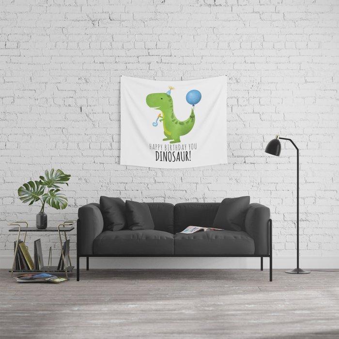 Happy Birthday You Dinosaur! Wall Tapestry