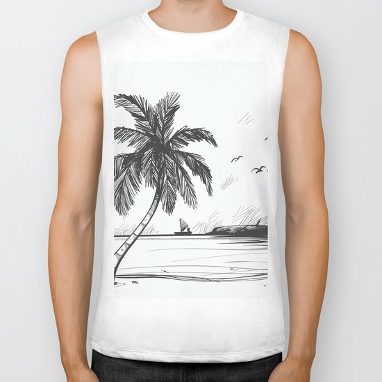 Beach graphic sketch art Biker Tank
