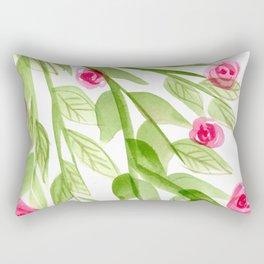 Pink Rosebuds in Watercolor Rectangular Pillow