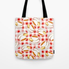 Cup of Tea, a Biscuit and Red Gingham Tote Bag