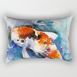 Koi Fish in the Pond - Zen Watercolor Rectangular Pillow