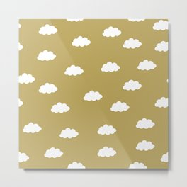 White clouds in green yellow background Metal Print
