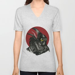 Red Moon Crow Unisex V-Neck