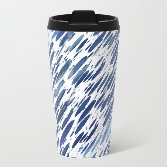 Boho Blue Brushstroke Metal Travel Mug
