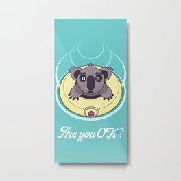 Are you OK? Swimming koala Metal Print