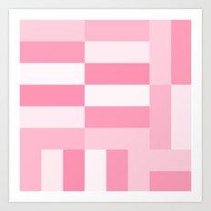 Pink Gradient Blocks Art Print