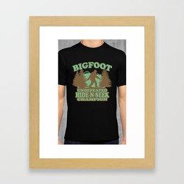 Bigfoot Hide-and-Seek Champion (vintage distressed look) Framed Art Print