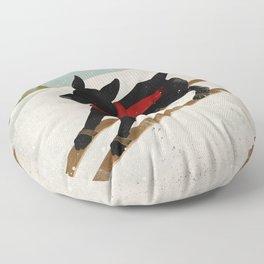 Black Dog Labrador Ski Mountain Floor Pillow