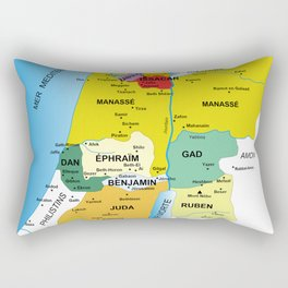 Map of Twelve Tribes of Israel from 1200 to 1050 According to Book of Joshua in French Rectangular Pillow