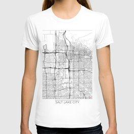 Salt Lake City Map White T-shirt