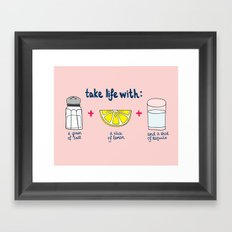 Take life with a grain of salt (and tequila) Framed Art Print
