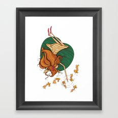 Girl and fish Framed Art Print