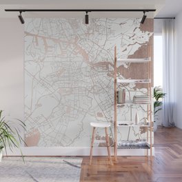 Amsterdam White on Rosegold Street Map Wall Mural